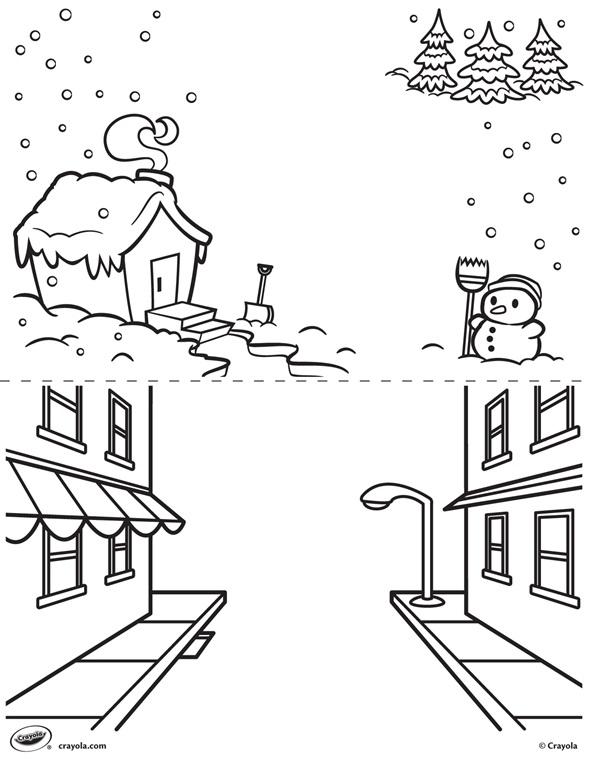kleurplaat winter en straat crayola be